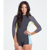 Billabong Womens 2mm Spring Fever LS Shorty (Black Wetsuit